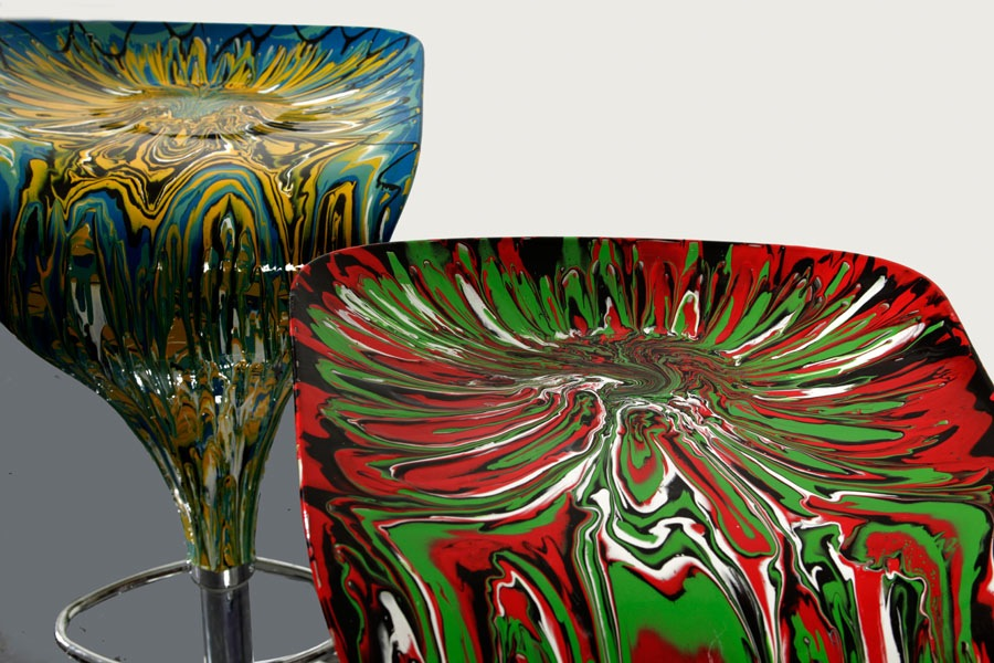 Resin painted bar stools